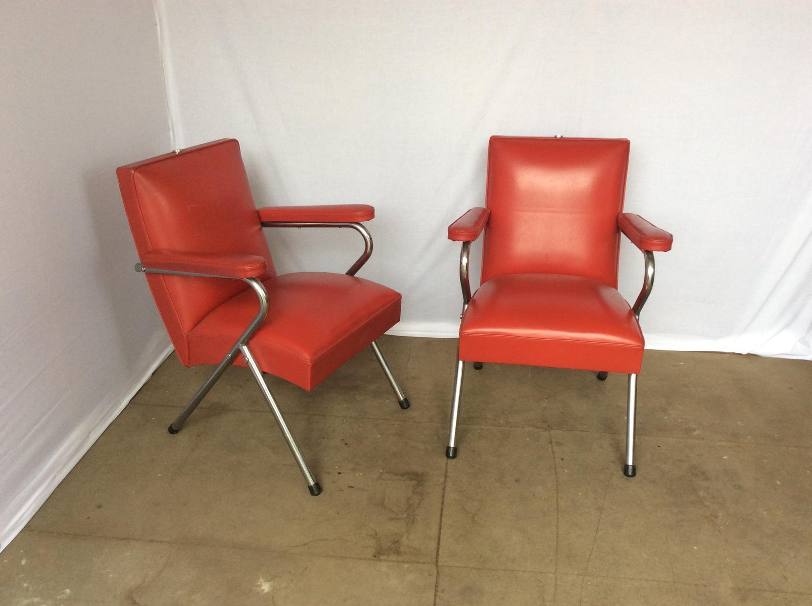 Red Salon Chairs Chrome And Red Vinyl Salon Chairs 1960s Set Of 2 For