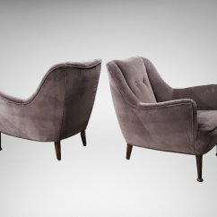 Contemporary Lounge Chairs Kid Sized Plastic Adirondack Mid Century Modern In Deep Lilac Gray Velvet Set Of 2