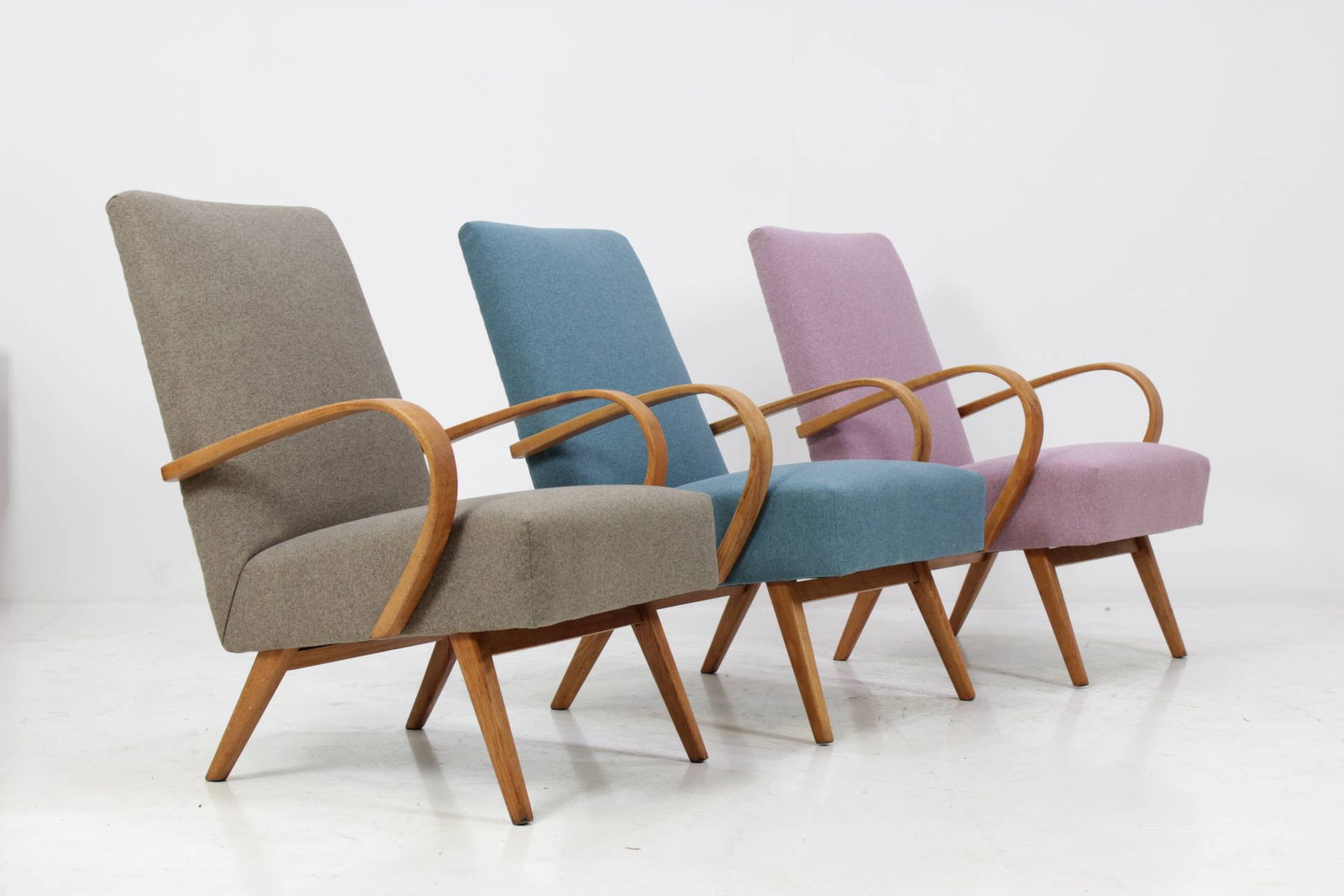 Bentwood Lounge Chair With Blue Fabric From Ton 1960s For