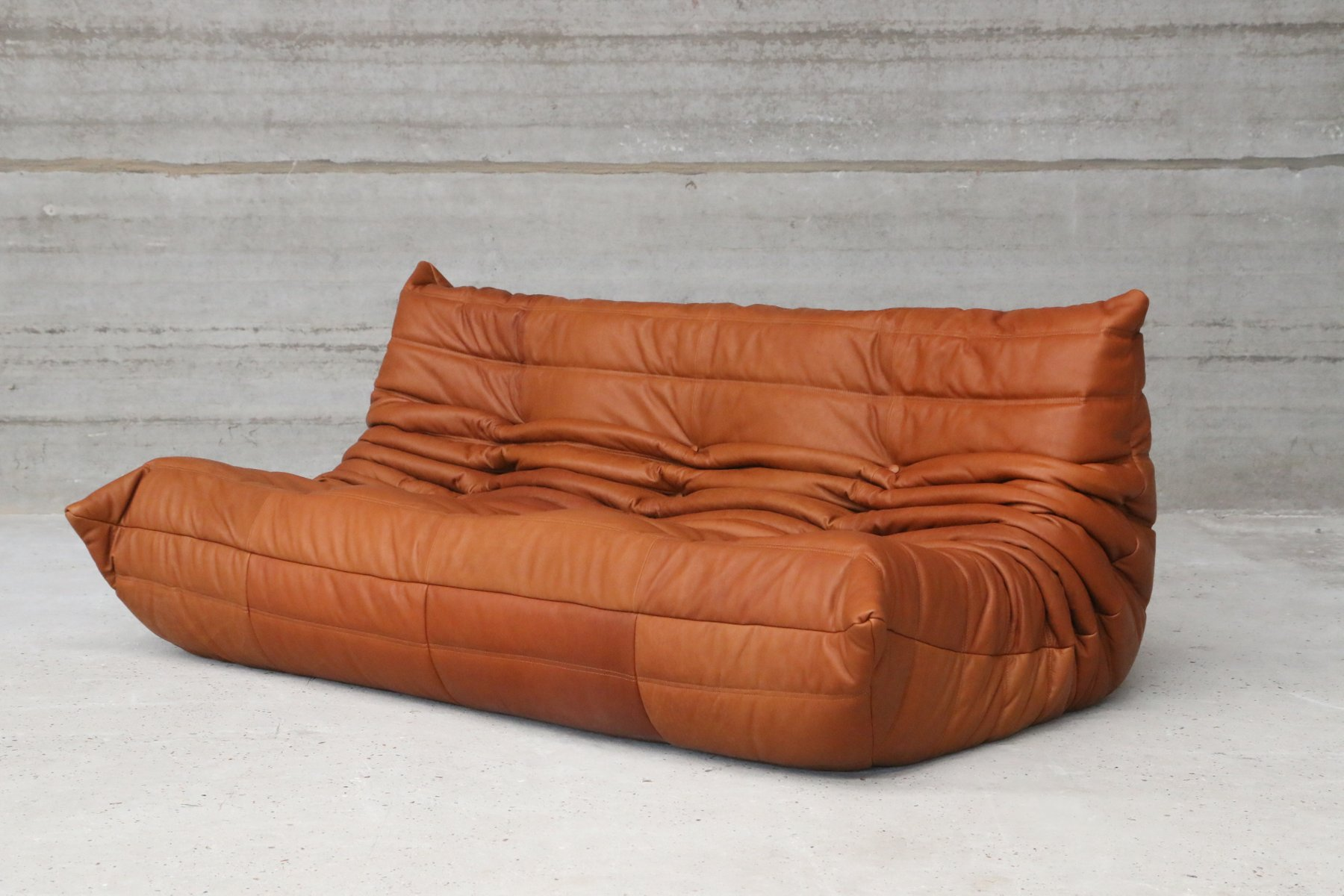 togo sofa replica uk mid century sofas vintage cognac leather three seater by michel ducaroy for ligne roset