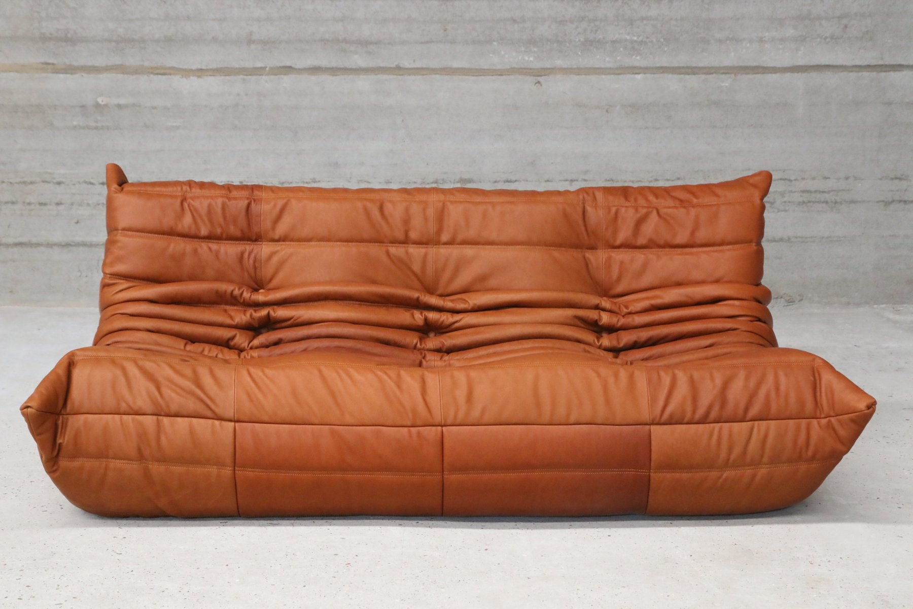 vintage togo cognac leather three seater sofa by michel ducaroy for ligne roset