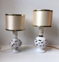 Vintage Perforated Danish Pottery Table Lamps by Michael