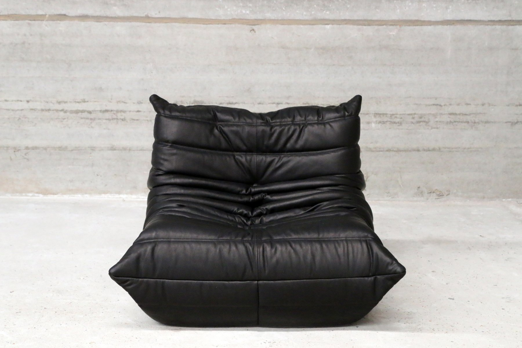 Leather Chair And Ottoman Vintage One Seater Togo Black Leather Sofa Ottoman By Michel Ducaroy For Ligne Roset