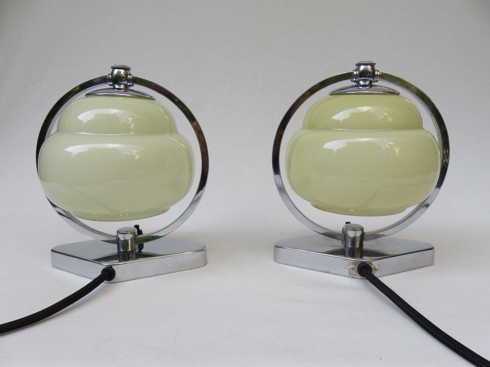 Vintage Art Deco Chrome & Beige Glass Bedside Lamps, Set