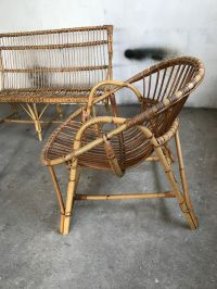 Vintage Living Room Set in Rattan for sale at Pamono