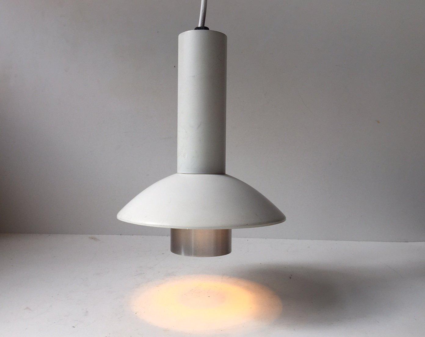 Vintage Danish White Minimalist Pendant Lamp by Louis