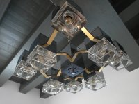 Mirrored Chandelier with Glass Cubes and Brass by Gaetano ...