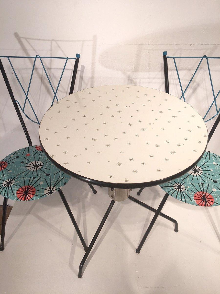 Set da pranzo vintage con tavolo e 2 sedie in vendita su Pamono