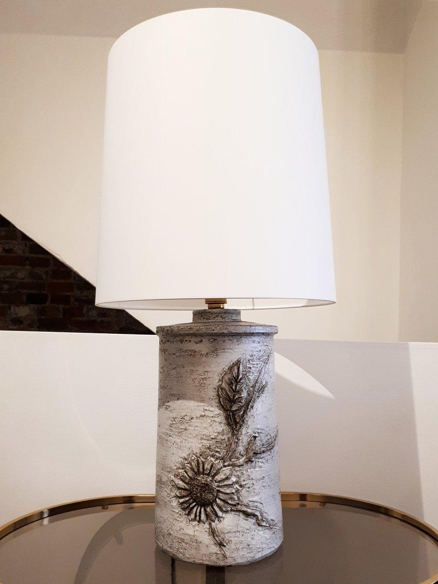 Grande Lampe de Bureau en Cramique par Huguette  Marius Bessone pour Vallauris 1970s en vente