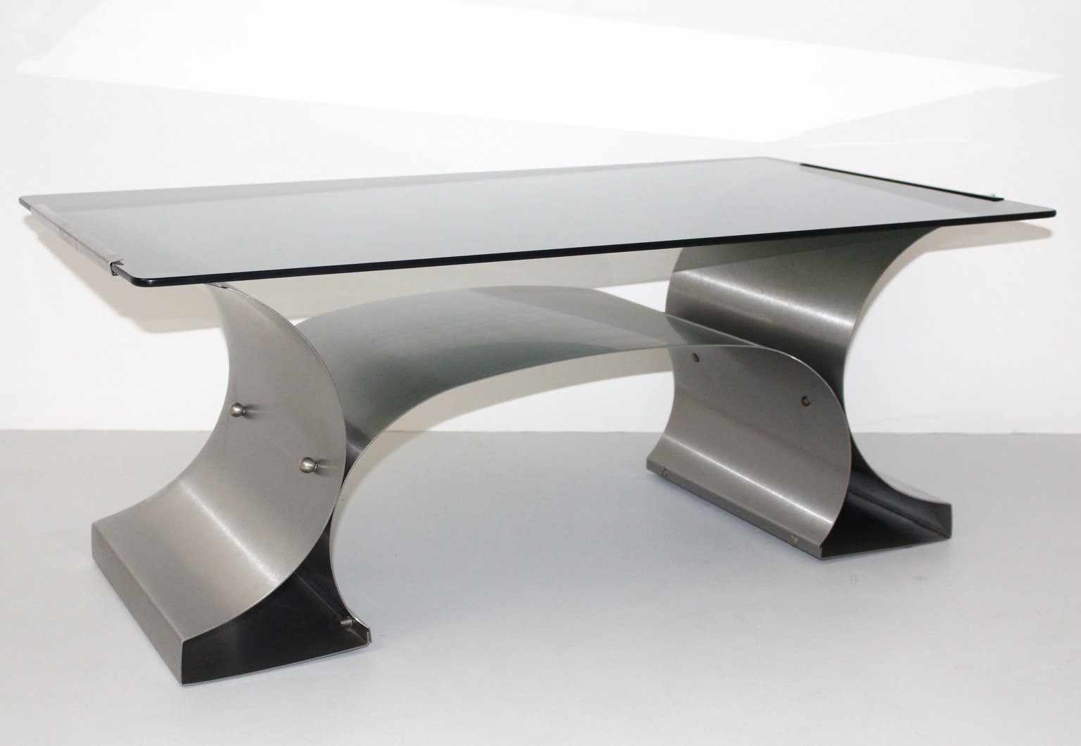 French Stainless Steel Coffee Table, 1970s for sale at Pamono