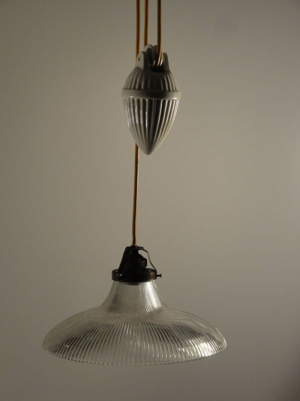 Porcelain Pendant Light with Glass Shade 1900s for sale