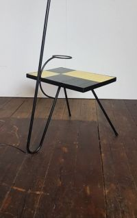 Mid-Century French Tile Tripod Cocotte Lamp & Table, 1950s ...