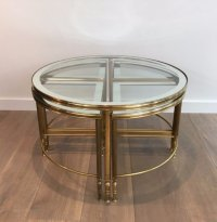 Round Brass Coffee Table & 4 Nesting Tables, 1960s for ...