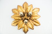 Golden Florentine Leaf Wall Lamp, 1960s for sale at Pamono