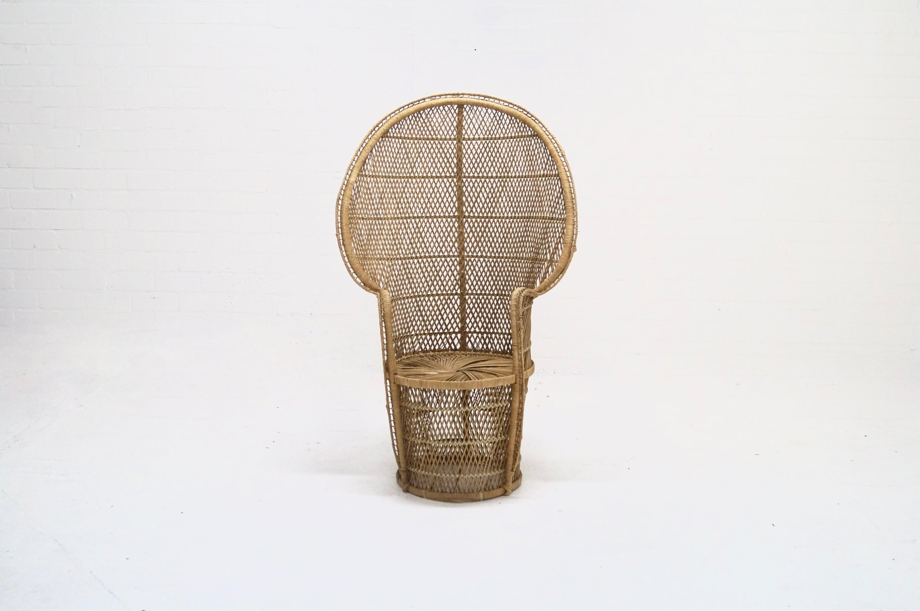 large wicker chair hans wegner wishbone peacock 1970s for sale at pamono