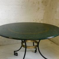 Mid-Century Steel and Brass Dining Table for sale at Pamono