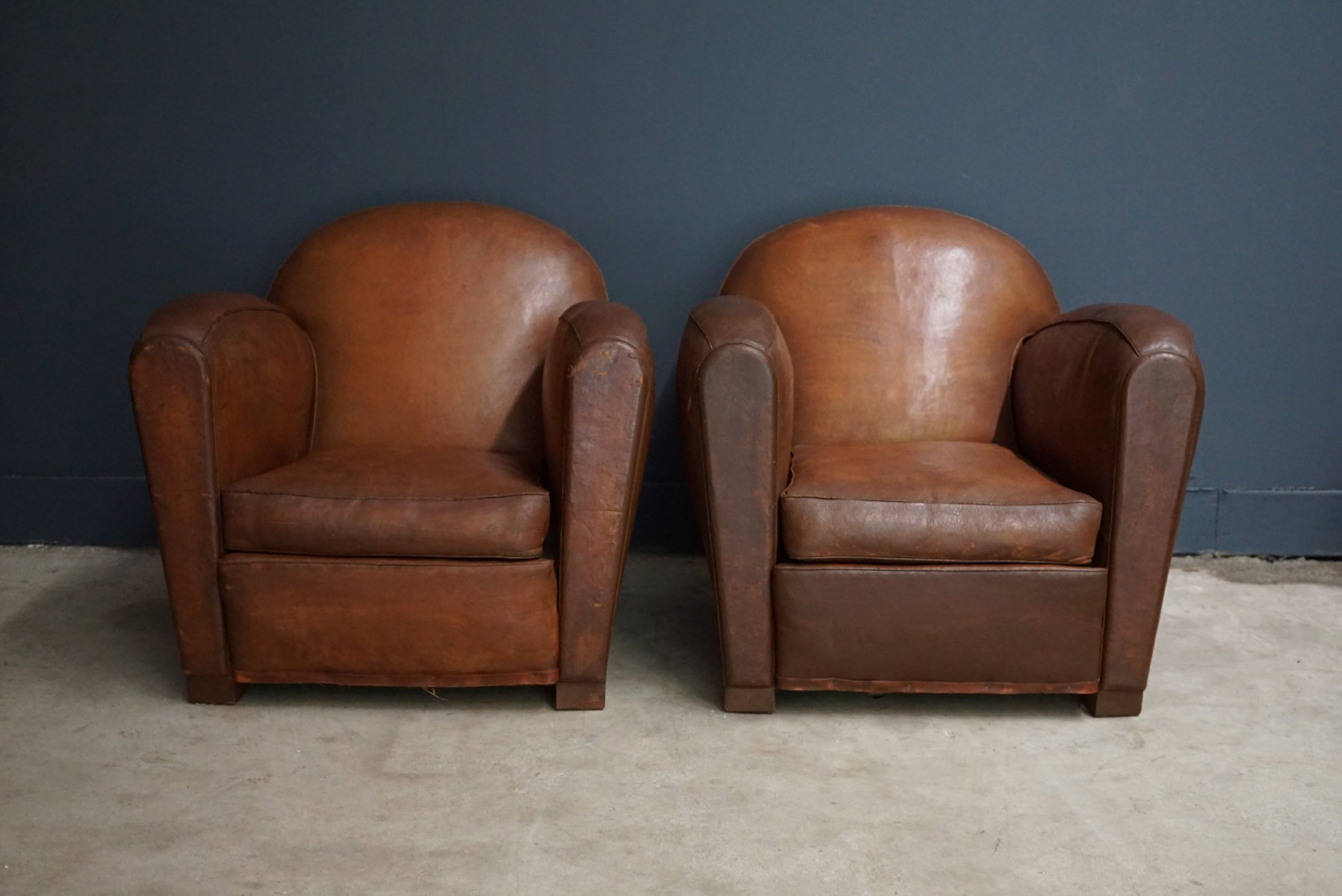 french club chairs for sale country kitchen table and vintage cognac leather set of 2