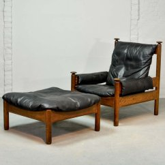 Black Chair And Ottoman Folding Camping Scandinavian Leather Lounge 1960s For Sale At
