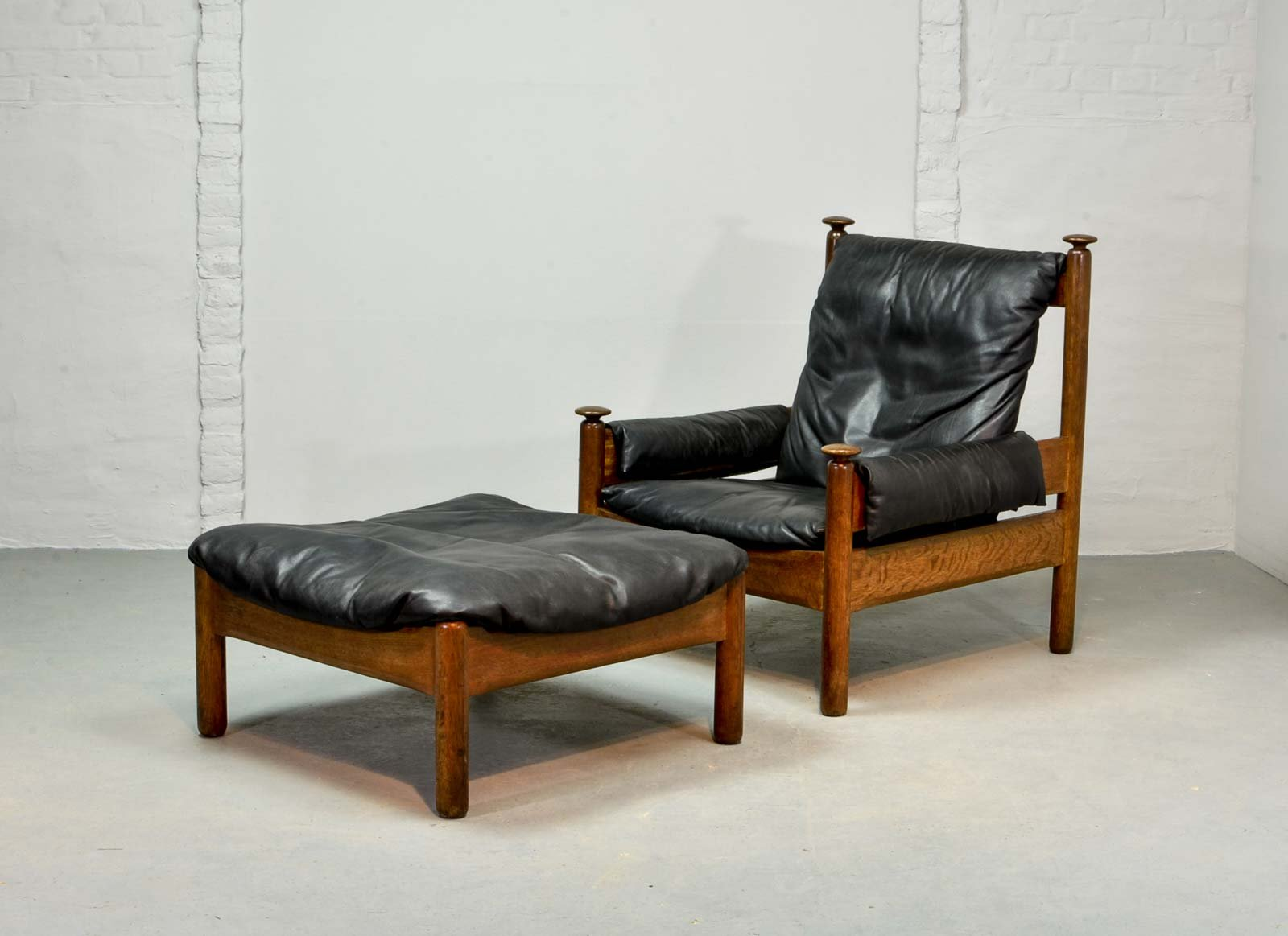Leather Chairs With Ottoman Scandinavian Black Leather Lounge Chair Ottoman 1960s