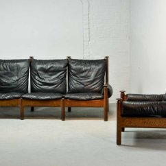 Algarve Leather Sofa And Loveseat Set Intex Inflatable Pull Out Double Bed Mid Century Scandinavian Black 1960s For