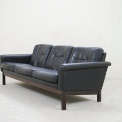 Black Leather Sofa Quick Delivery Alex 89 Vintage From Asko For Sale At Pamono