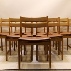 Danish Dining Chair Xmen Wheelchair Vintage Chairs In Oak And Brown Leather By Kurt Ostervig For Kp Molber Set Of 10