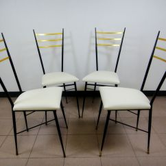 White Dining Chairs Set Of 4 Worlds Best Office Chair Mid Century Black Lacquered Metal Brass And