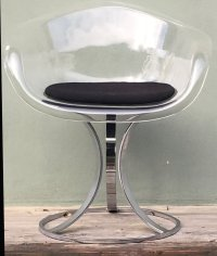 Mid-Century Acrylic & Chrome Chair by Peter Hoyte, 1960s ...