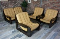 Vintage Living Room Set in Solid Wood and Leather for sale ...