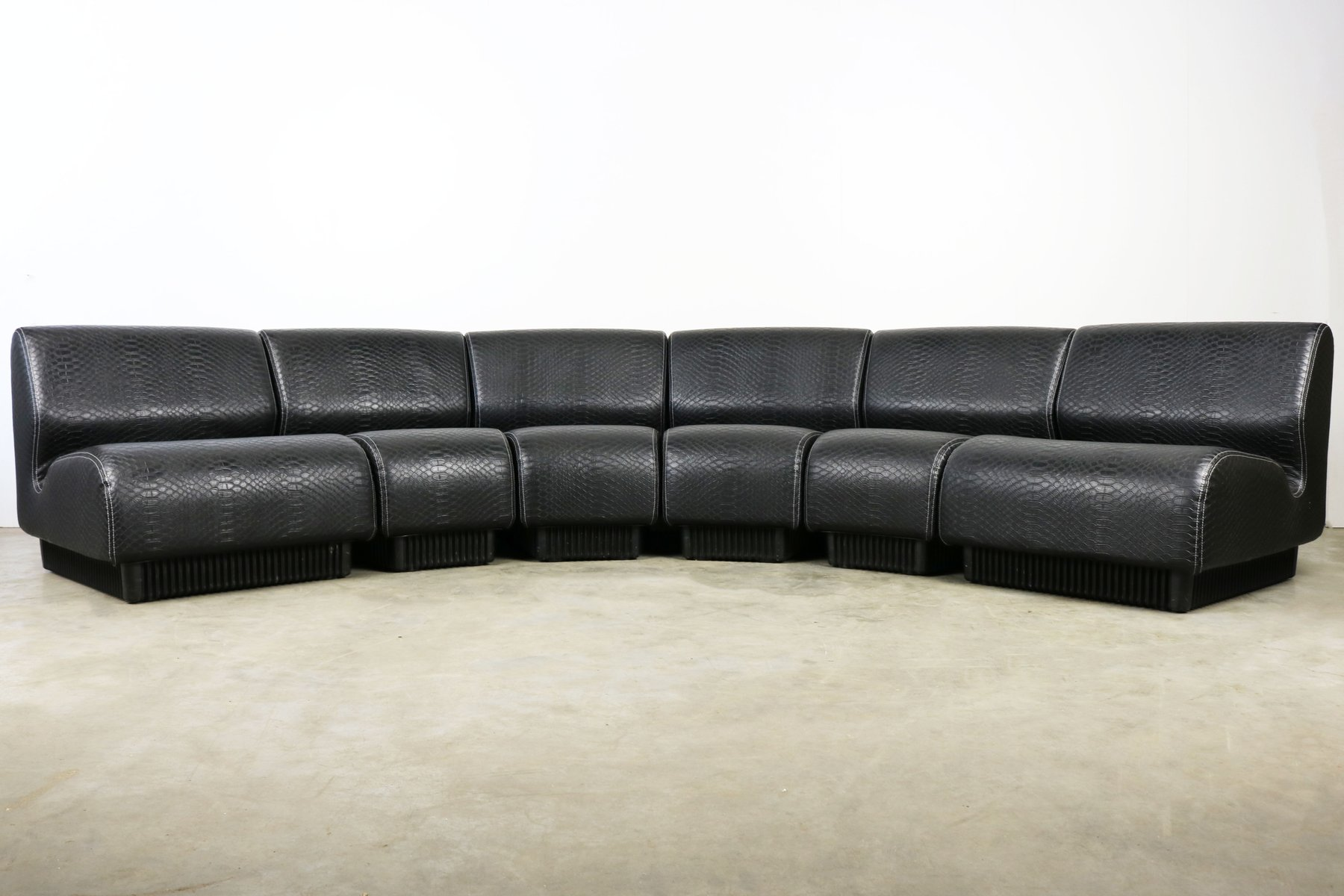 chadwick sofa chesterfield beds uk mid century black snakeskin modular by don for herman miller 1970s
