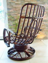 Mid-Century Rattan Rocking Chair for sale at Pamono