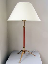 Mid-Century Table Lamp in Red Leather and Brass for sale ...