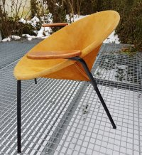 Mid-Century Suede Lounge Chair by Hans Olsen for LEA for ...