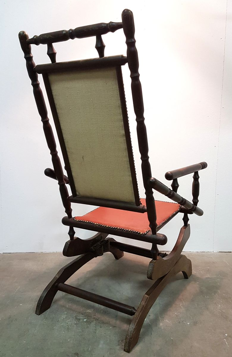 Vintage Scandinavian Rocking Chair with Patinated Leather