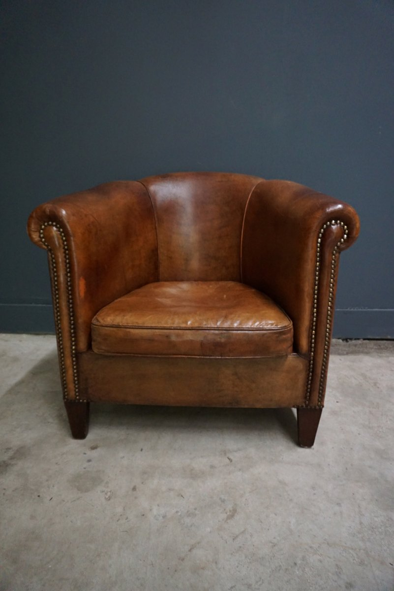 Wood Club Chair Dutch Vintage Cognac Colored Leather Club Chair
