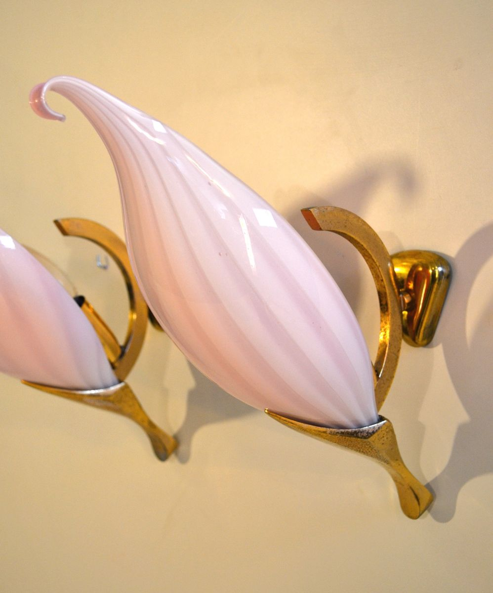 Italian Pink Wall Sconces from Venini, 1960s, Set of 2 for
