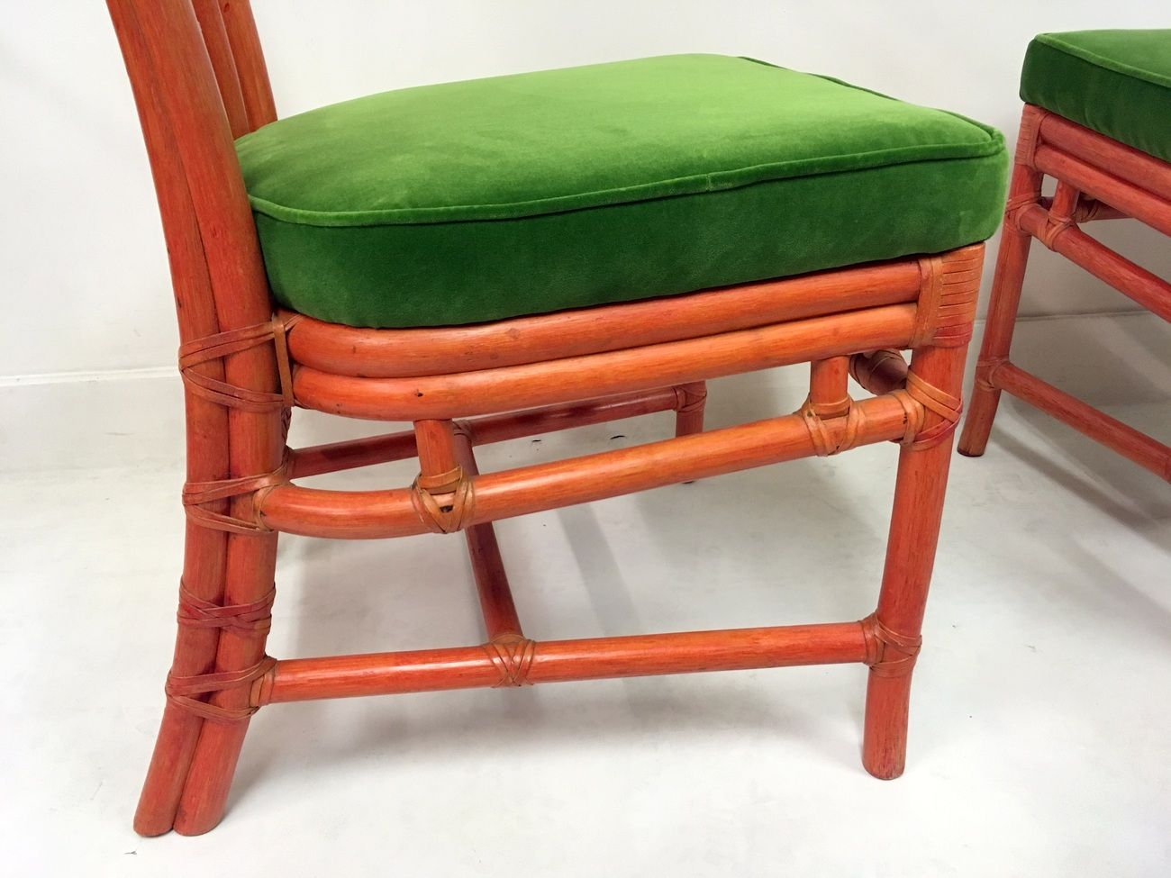 Green Velvet Dining Chairs Vintage Red Bamboo And Green Velvet Dining Chairs From