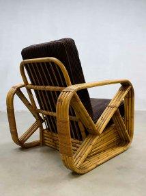Vintage Rattan Lounge Chair Paul Frankl 1940s