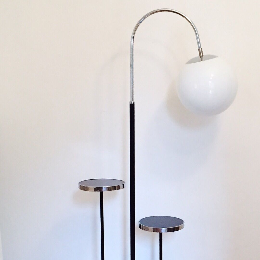 Vintage Bauhaus Floor Lamp with 2 Small Tables by Jindich