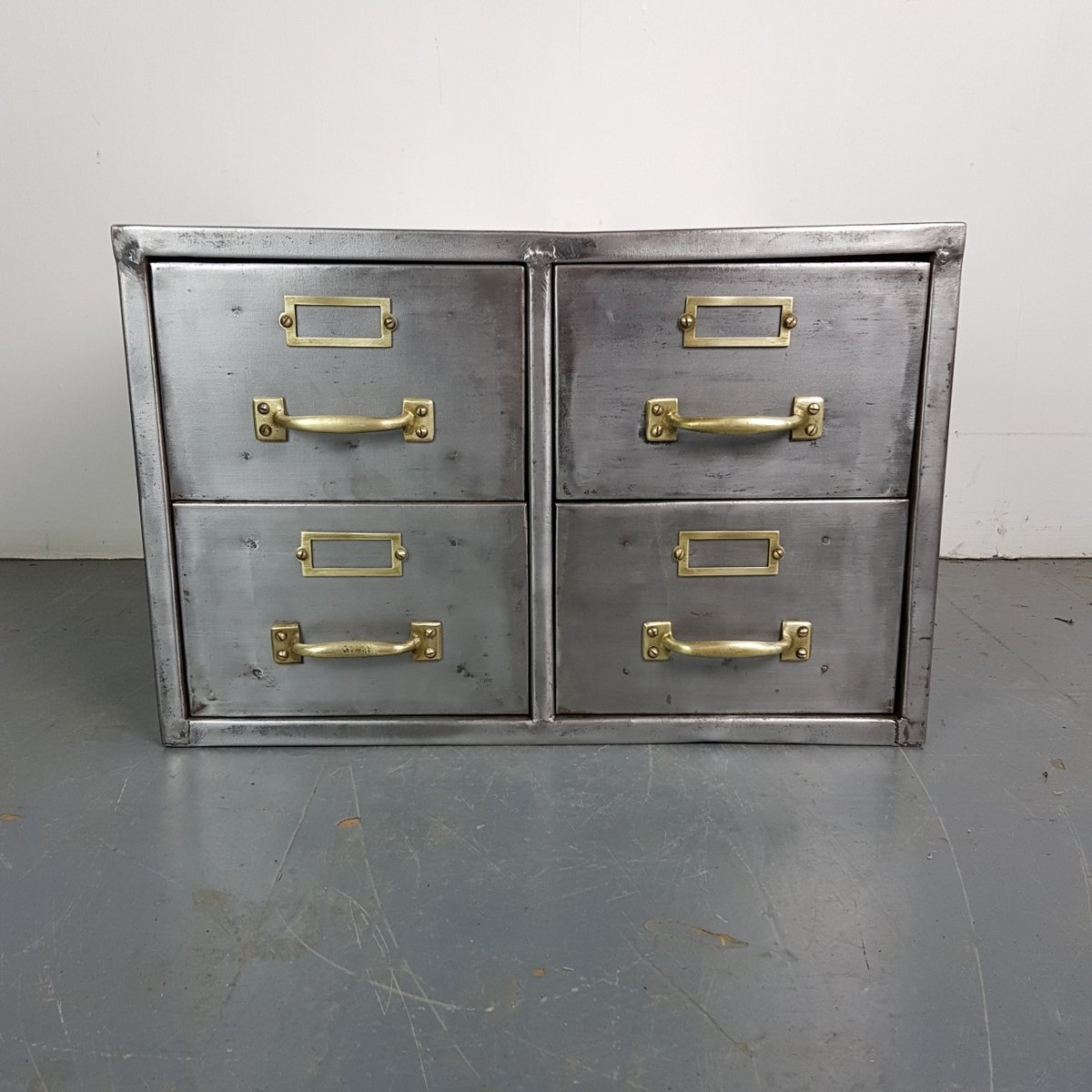 Vintage Stripped Steel Filing Cabinet for sale at Pamono
