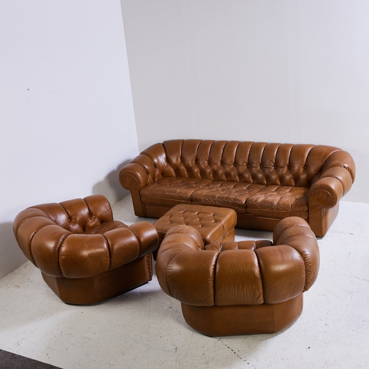 algarve leather sofa and loveseat set futon bed perth wa chesterfield 1970s for sale at pamono