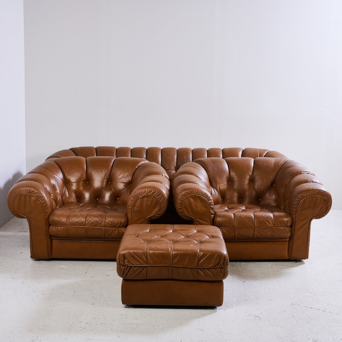 algarve leather sofa and loveseat set benson the brick chesterfield 1970s for sale at pamono
