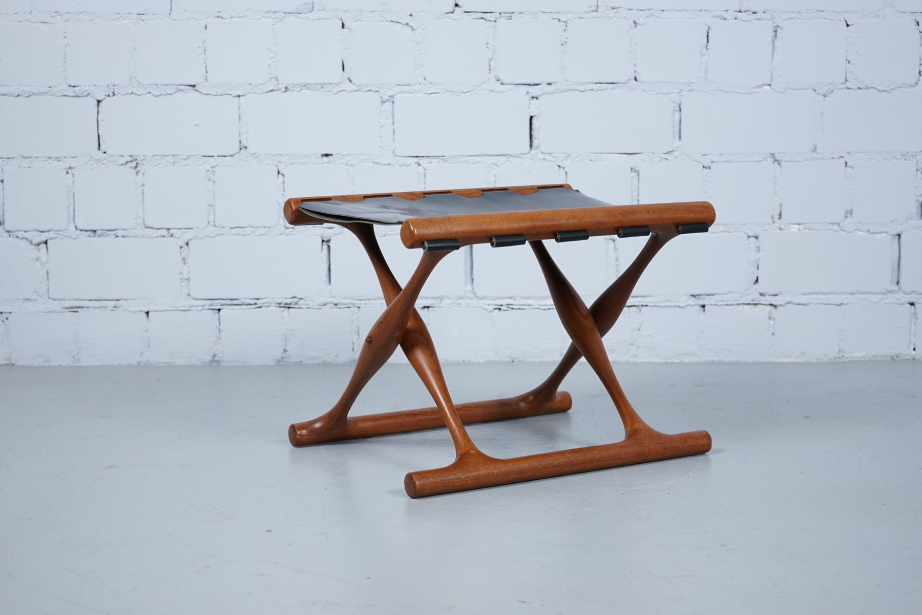 stool chair ph blue chairs resort by the sea vintage teak and leather 43 foldable poul