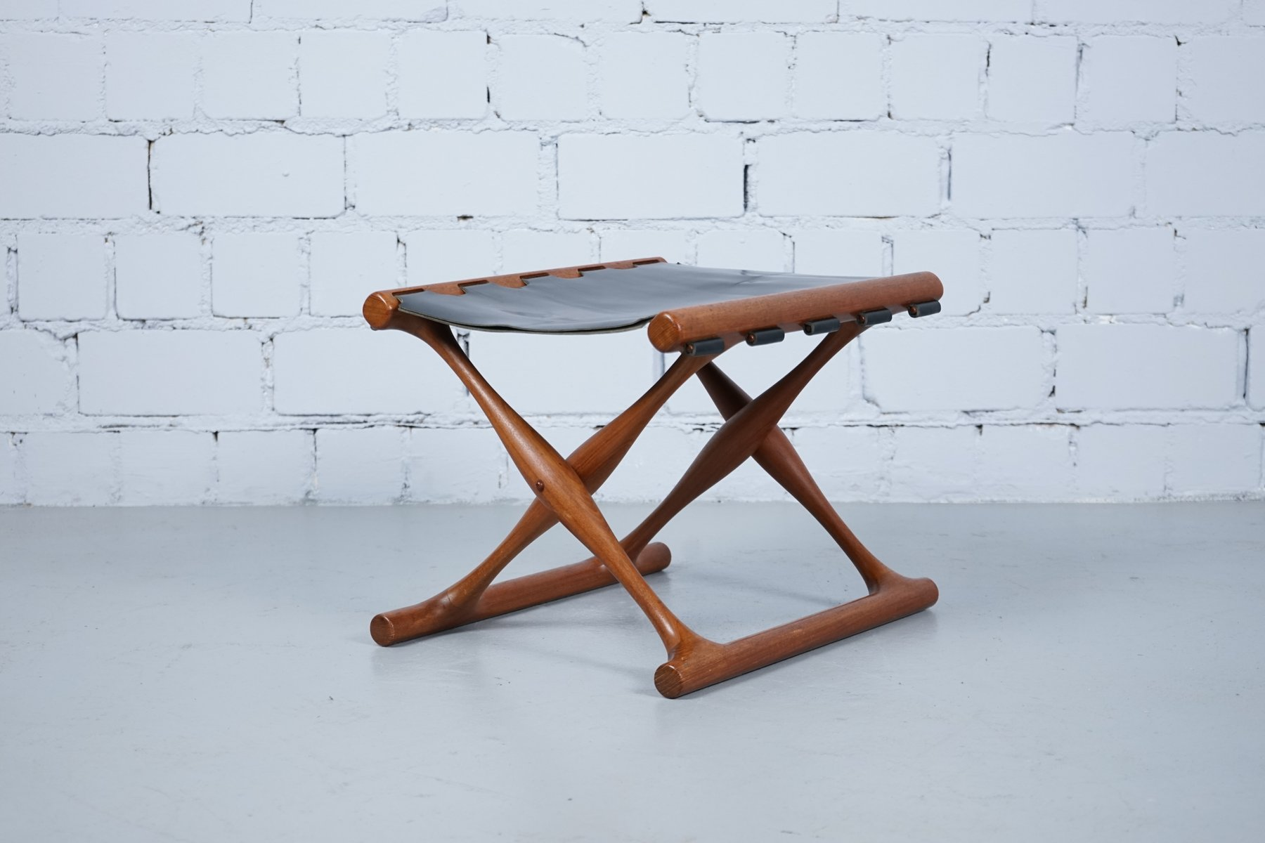stool chair ph mid century chairs for sale vintage teak and leather 43 foldable by poul