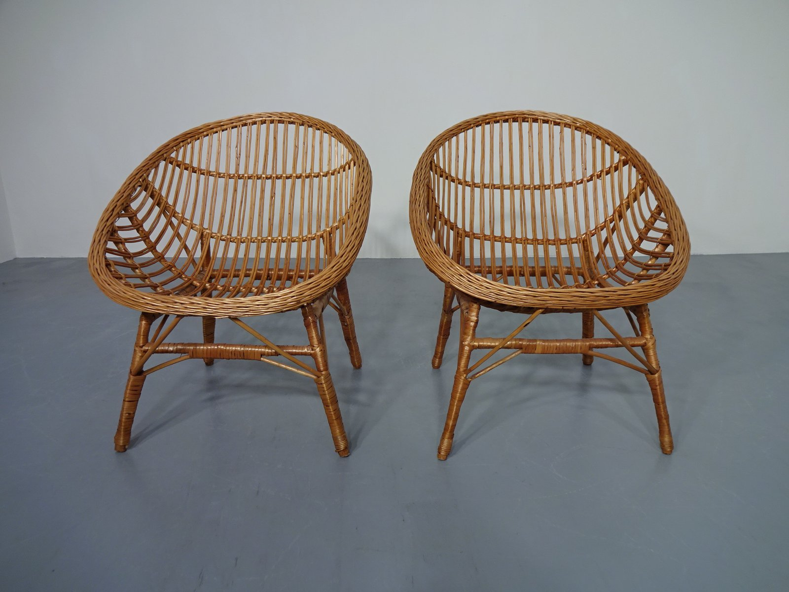 Bamboo Chairs Rattan Bamboo Chairs 1960s Set Of 2