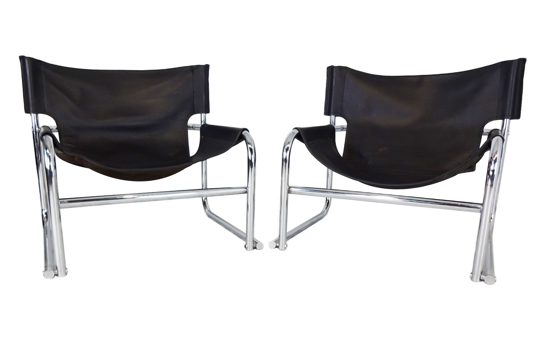 leather sling chairs desk chair no rollers t1 black by rodney kinsman for omk 1969 set of 2