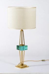 Mid-Century Murano Cut Glass and Brass Table Lamps by ...