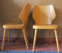 Scandinavian Plywood Chair with Splayed Legs and Curved ...