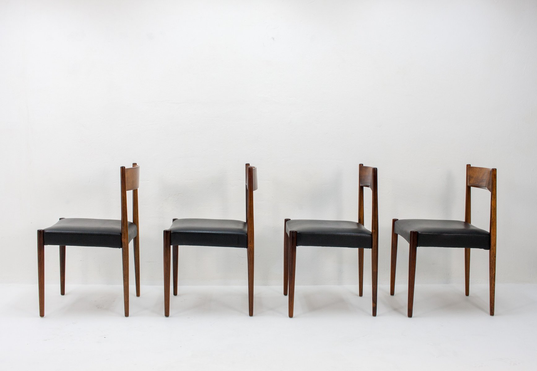 Black Leather Dining Chairs Rosewood And Black Leather Dining Chairs From Lübke 1960s Set Of 4