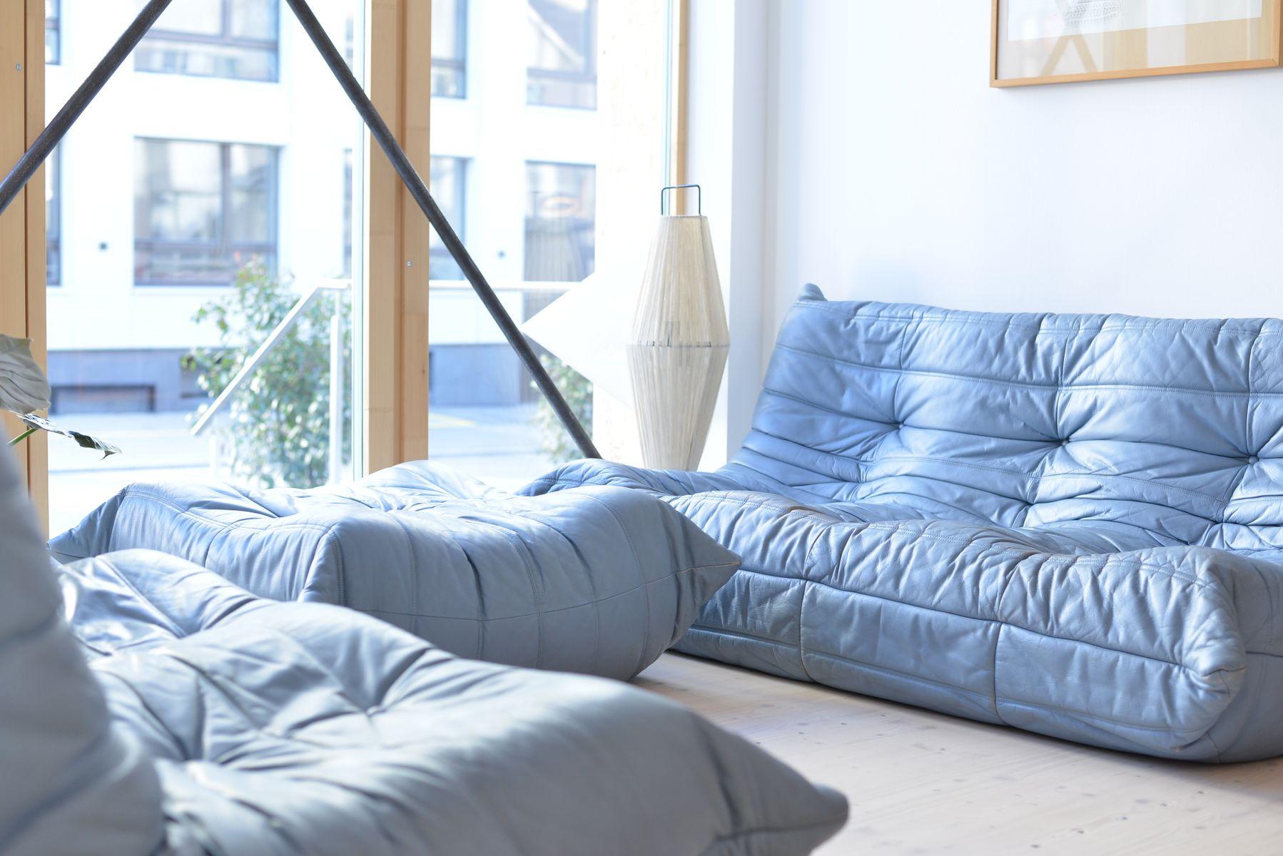 Blue Leather Togo Living Room Set By Michel Ducaroy For Ligne Roset 1970s
